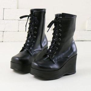 여성 발편한 통굽 가보시 워커 롱 미들 부츠 신발