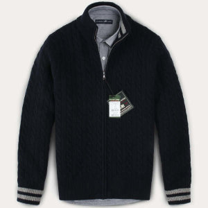 (현대Hmall) FOREST CAMP Lambswool Zip-Up Cable Cardigan/램스울 집업 케이블 가디건/∼4XL FCSW8404-Nav