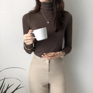 밀착 슬림핏 여자 이너 폴라 티셔츠