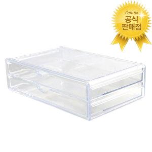 파우더룸 화장품 수납정리 투명 아크릴 서랍 2X1칸