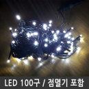 트리전구 백색 LED100구 검정선 연결형 점멸전원잭포함