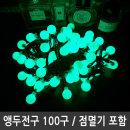 앵두전구 녹색 LED100구 검정선 연결형 점멸전원잭포함
