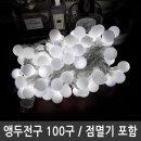 앵두전구 백색 LED100구 투명선 연결형 점멸전원잭포함