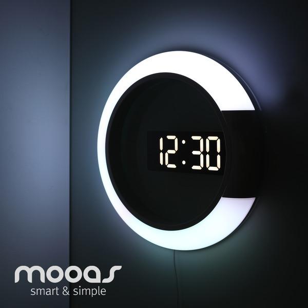 무아스 LED벽시계 듀얼 미러클락 무드등