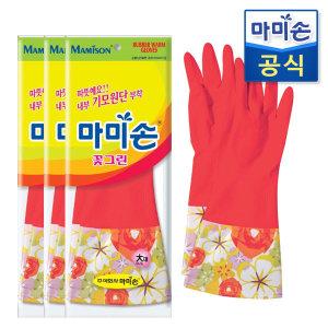 마미손 고무장갑 기모(대형) 3개 /라텍스/김장