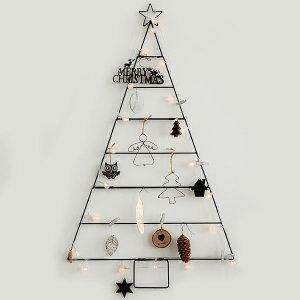 크리스마스트리 모던 벽트리 블랙 전구세트 철재트리
