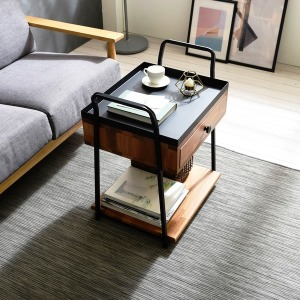 멀바우원목 이동식 2단 서랍 협탁 테이블