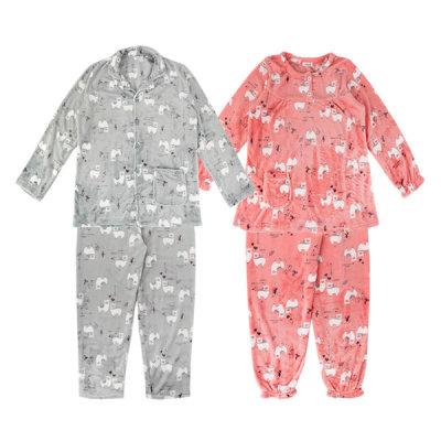커플 밍크 수면 잠옷 상하세트 겨울 홈웨어 라마