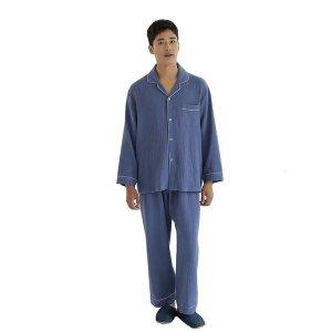 남성 잠옷 상하세트 국산 사계절용 순면 내추럴솔리드
