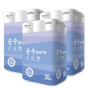 순수PURE 천연펄프 25m30롤 x3팩/휴지/화장지