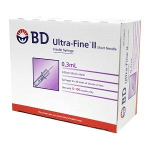 BD 울트라파인2 인슐린 주사기 0.3mL (100개) 일회용