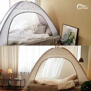 난방텐트 방한 보온 실내 침대 방풍 수면 원터치 텐트