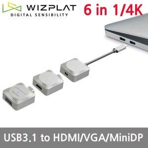 6in1 Type-C to HDMI VGA MINI DP 4K VIDEO HUB BH101