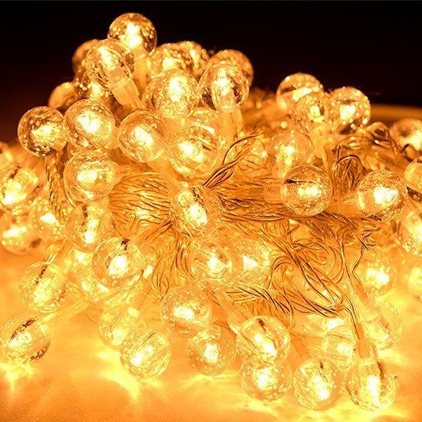 (지아이비 ) LED 100구 크리스탈앵두 전구 메모리형_투명선 전구색