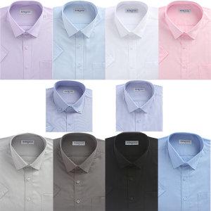 솔리드셔츠 남자 반팔 일반핏 와이셔츠 반팔티셔츠