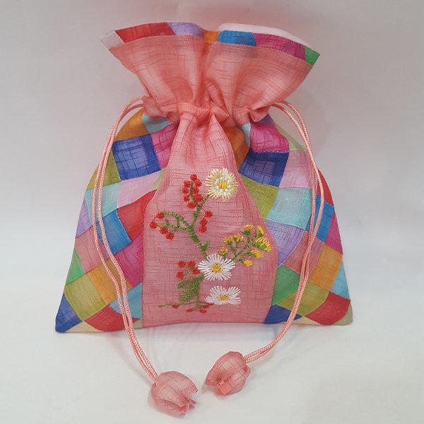 전통 중간 꽃 복주머니(소) 한국 기념품 외국인 선물