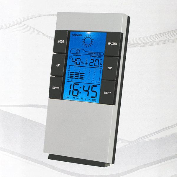 블루 디지털 온도계 백라이트 탁상시계 알람시계