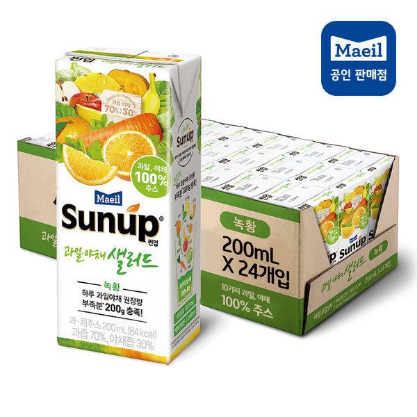썬업 과일야채샐러드 녹황 200ml 24팩/주스/쥬스/음료