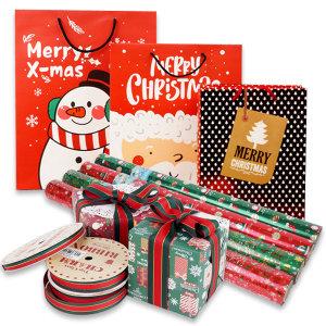 크리스마스 포장지 쇼핑백 리본끈 봉투 OPP 포장 산타