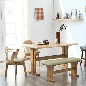오츠카 원목 4인용 식탁세트/회전의자/원목식탁