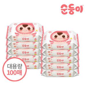 물티슈 베이직 엠보싱 리필 100매 10팩/nBpR-01