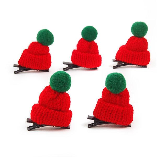방울모자머리핀(5개입) 헤어악세서리 머리삔 크리스마