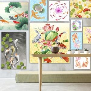 복들어오는 잉어 연꽃 그림액자 합격 승진운 부부금실