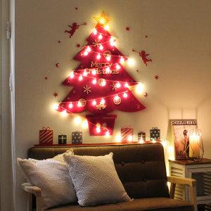 더원스토리/크리스마스벽트리장식+전구 핑크(벽전용)