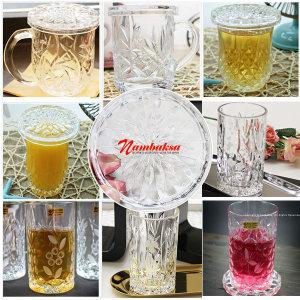 크리스탈컵 뚜껑머그컵 물컵 머그컵 유리컵 컵받침