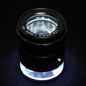 고휘도 LED스케일루페 10x 눈금 0.1mm 확대경 돋보기