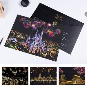 도시풍경 스크래치 컬러링북/선물용 커버팩/펜 포함