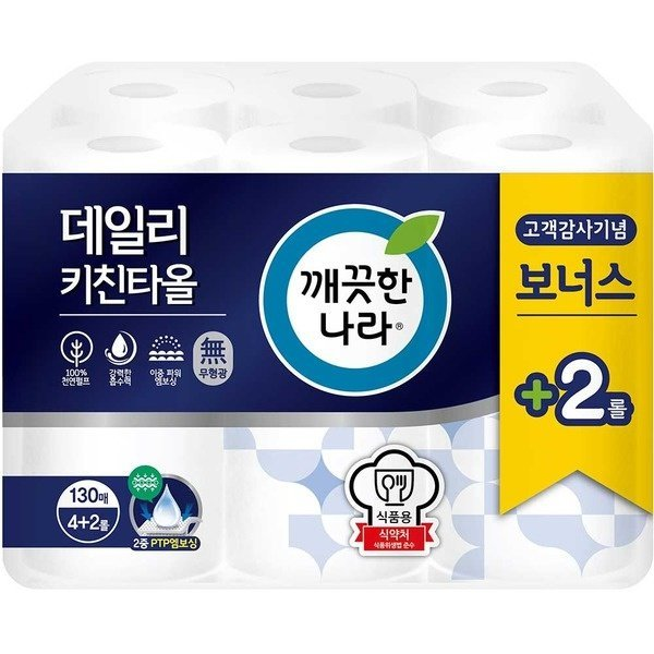 깨끗한나라 데일리 키친타월 130매4+2롤 x 4팩(총24롤