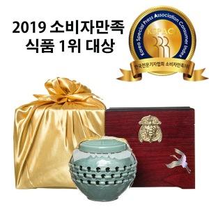 지리산 투각도자기800g+고가구+금사보자기 선물세트