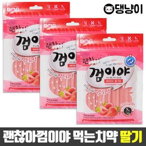 괜찮아껌이야 딸기 100g x 3P / 애견간식 먹는치약