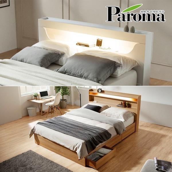티파니 로라 토마스 LED+3서랍+220V내장 SS/Q 침대