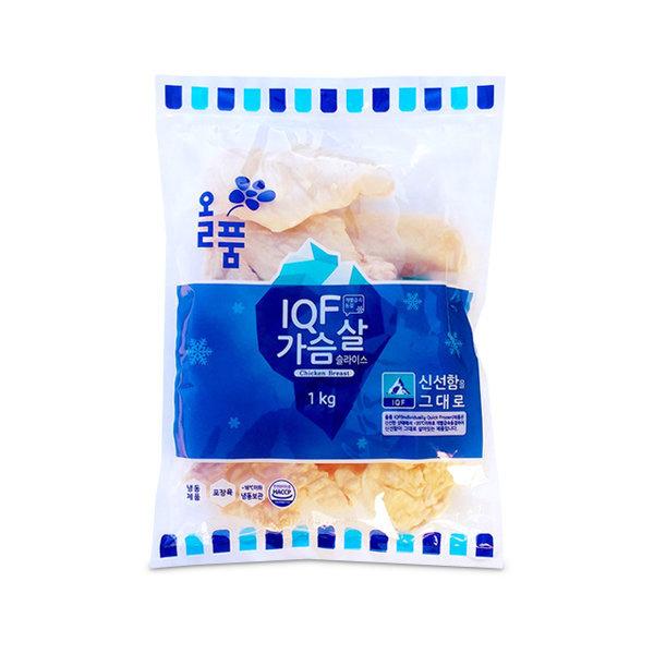 올품 IQF 닭가슴살 슬라이스 1kg 3봉