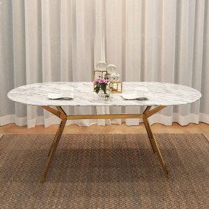 이태리 천연 대리석 타원형 라운드형 6인 식탁 테이블