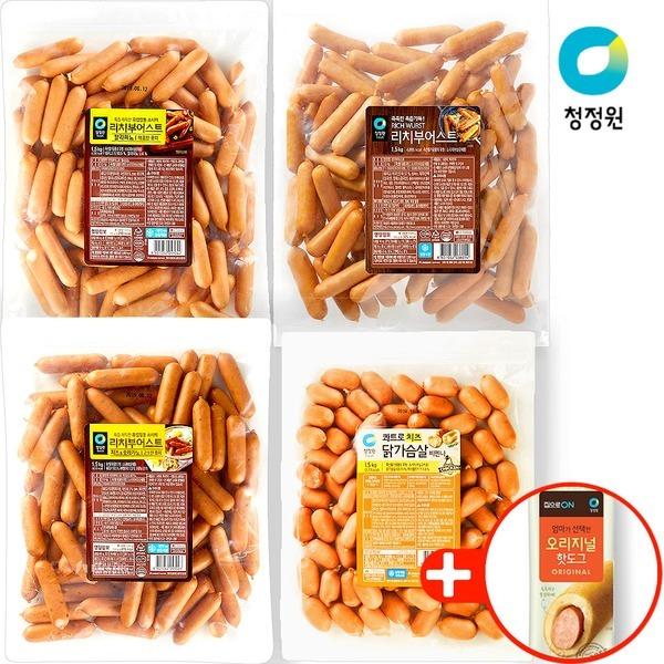 청정원 프리미엄 소시지 1.5kg 4종 + 핫도그75gx1증정