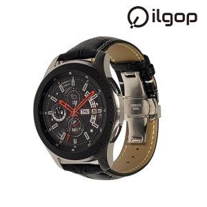 갤럭시 워치 시계줄 46mm 가죽 스트랩 블랙