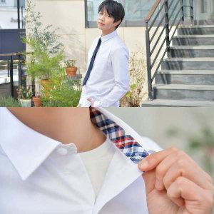 (현대Hmall)프리미엄 파랑체크 스판 남성 화이트 셔츠