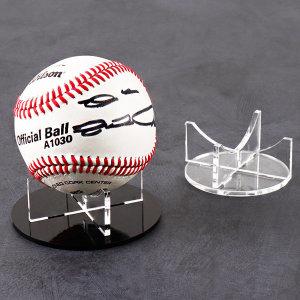 야구공 케이스 전시용 투명 받침대 EB1006B 원형 X자