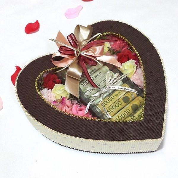 NEW하트 용돈박스3 생일 부모님선물 기념일 돈꽃다발