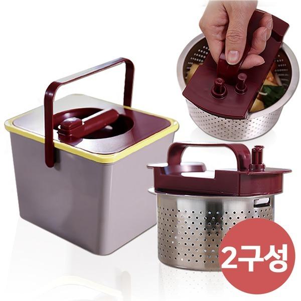 원터치 해피쏭 싱크대 거름망 음식물 쓰레기통 2구성