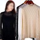 하얀비WR2766 섹시한 시스루 레이스망사 프릴 티셔츠