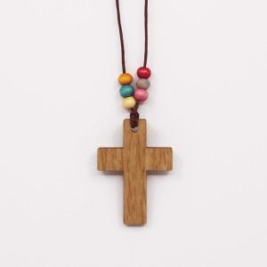 십자가 목걸이 (무늬목)