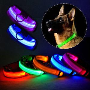 LED 강아지 목줄 야광 야간산책 라이트 발광 목걸이줄
