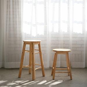 (리빙숲) 리빙숲 원목 원형 스툴 의자(옵션)