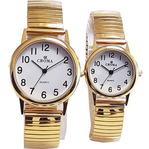 부모님 노인 시계 스프링밴드 커플 손목시계 큰숫자