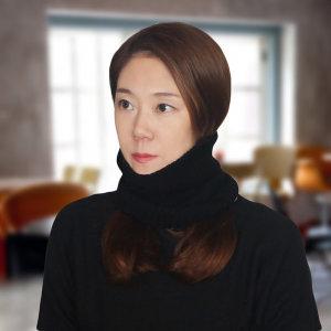 블랙 니트 넥워머/비니모자겸 헤어밴드 패션 목도리