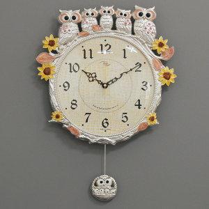 (바보디자인)(kspz272)저소음 해바라기부엉이시계 은